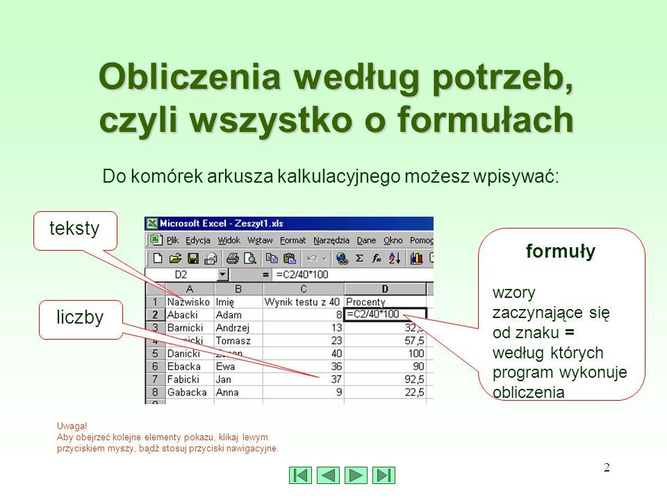 2 Obliczenia według potrzeb, czyli wszystko o formułach Do komórek arkusza kalkulacyjnego możesz wpisywać: teksty liczby formuły wzory zaczynające się