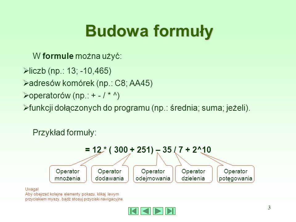 3 Budowa formuły W formule można użyć: Uwaga! Aby obejrzeć kolejne elementy pokazu, klikaj lewym przyciskiem myszy, bądź stosuj przyciski nawigacyjne.