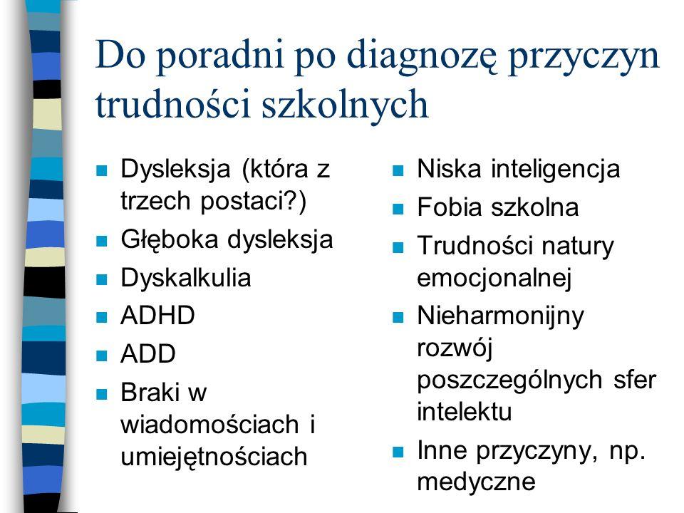 Do poradni po diagnozę przyczyn trudności szkolnych n Dysleksja (która z trzech postaci?) n Głęboka dysleksja n Dyskalkulia n ADHD n ADD n Braki w wiadomościach i umiejętnościach n Niska inteligencja n Fobia szkolna n Trudności natury emocjonalnej n Nieharmonijny rozwój poszczególnych sfer intelektu n Inne przyczyny, np.