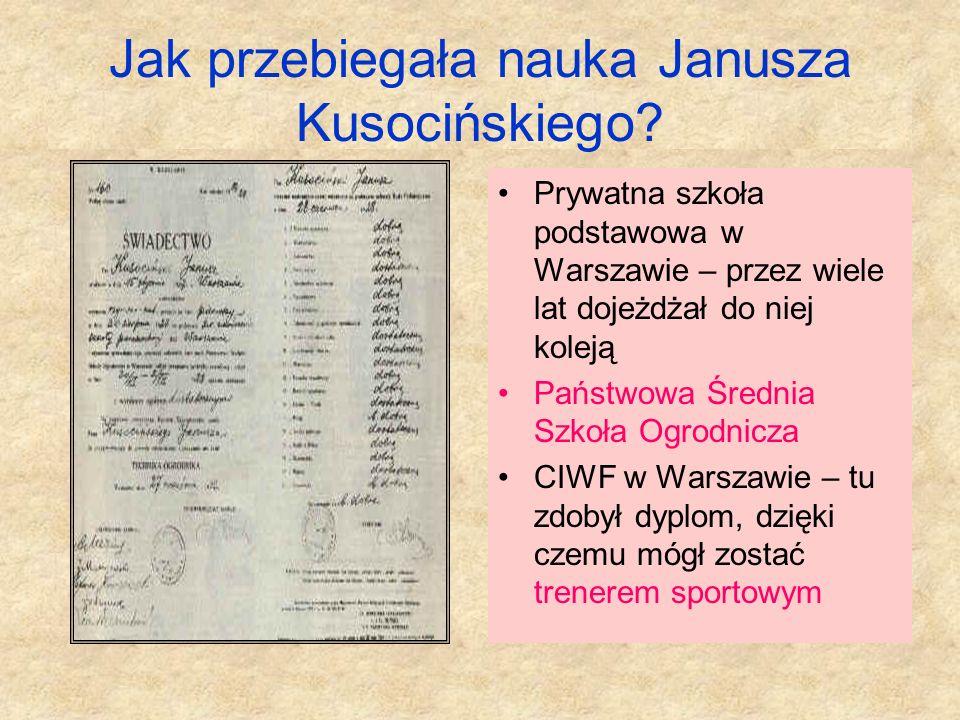 Rodzice Janusza Kusocińskiego Mieszkali w Ołtarzewie, gdzie mieli gospodarstwo rolne. Ojciec Klemens był zdecydowanym przeciwnikiem sportu. Matka Zofi