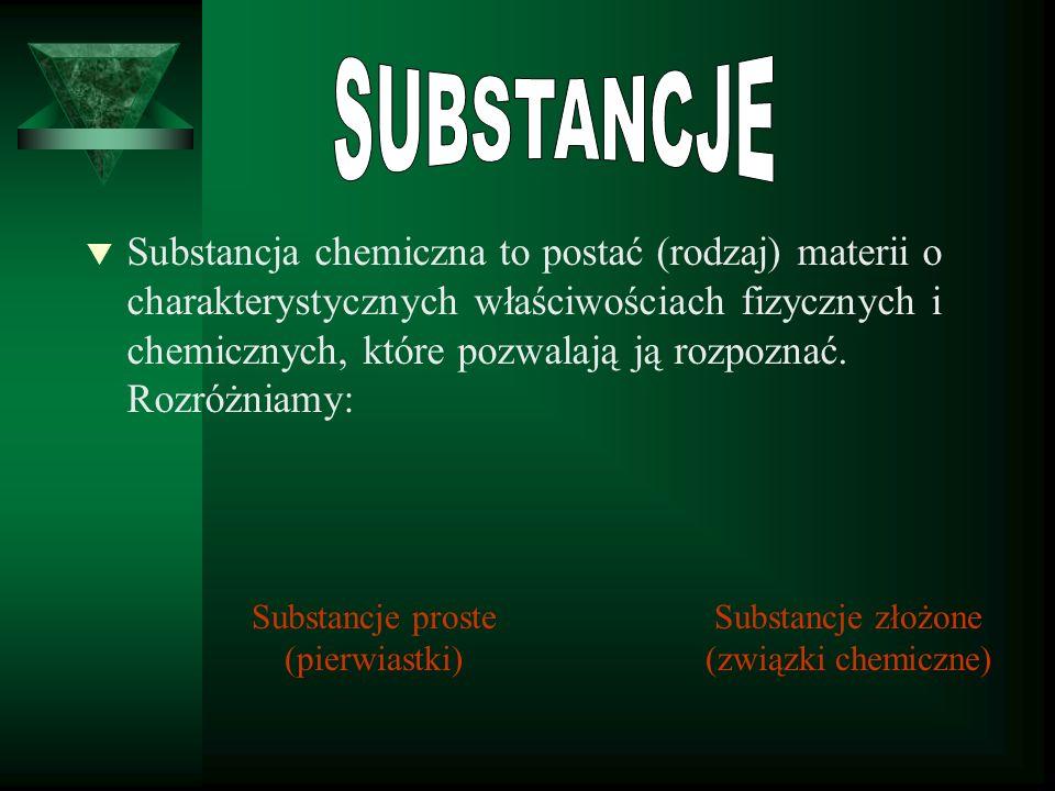 t Substancja chemiczna to postać (rodzaj) materii o charakterystycznych właściwościach fizycznych i chemicznych, które pozwalają ją rozpoznać.