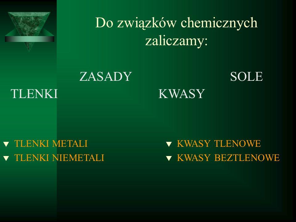 Do związków chemicznych zaliczamy: TLENKI ZASADY KWASY SOLE t TLENKI METALI t TLENKI NIEMETALI t KWASY TLENOWE t KWASY BEZTLENOWE