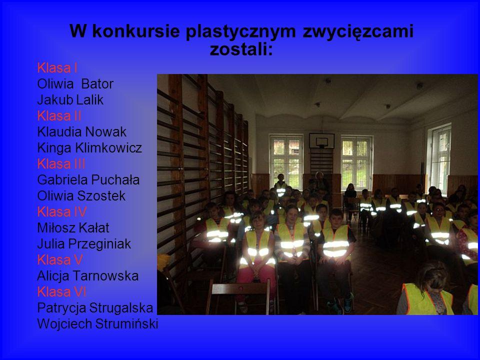 W konkursie plastycznym zwycięzcami zostali: Klasa I Oliwia Bator Jakub Lalik Klasa II Klaudia Nowak Kinga Klimkowicz Klasa III Gabriela Puchała Oliwi