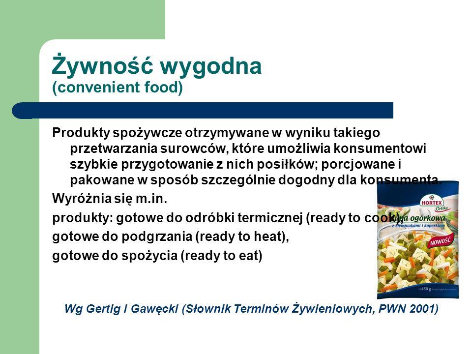 Żywność wygodna (convenient food) Produkty spożywcze otrzymywane w wyniku takiego przetwarzania surowców, które umożliwia konsumentowi szybkie przygot