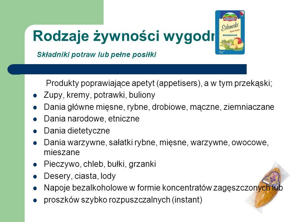Rodzaje żywności wygodnej Składniki potraw lub pełne posiłki Produkty poprawiające apetyt (appetisers), a w tym przekąski; Zupy, kremy, potrawki, buli