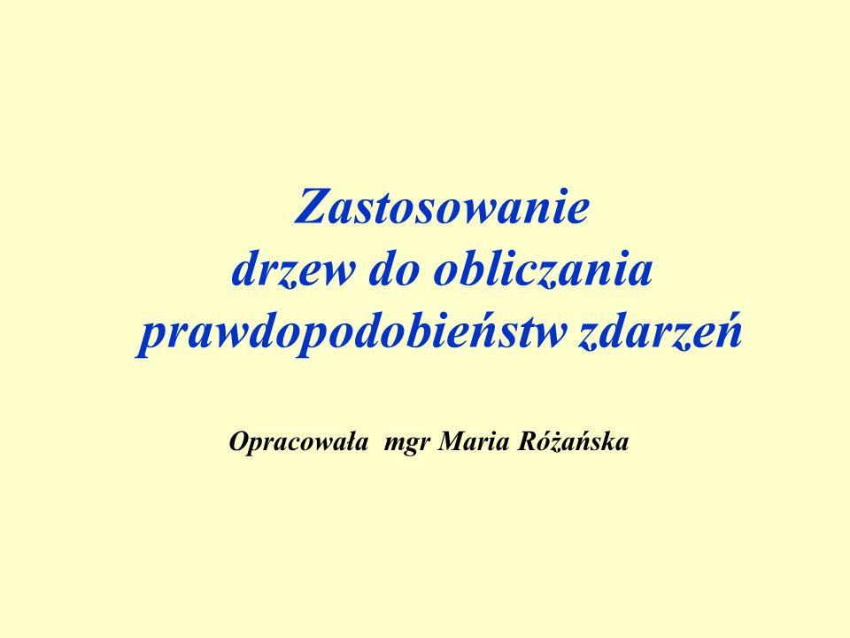 Zastosowanie drzew do obliczania prawdopodobieństw zdarzeń Opracowała mgr Maria Różańska