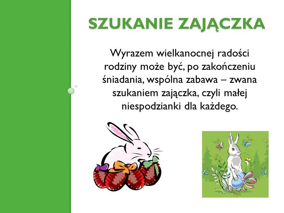 WIELKA NIEDZIELA dzień radości Wielka Niedziela rozpoczyna się wieczorną liturgią Wigilii Paschalnej, po której odprawia się procesję rezurekcyjną W Polskim zwyczaju, rano rodzina zasiada się do uroczystego śniadania wielkanocnego, które rozpoczyna się składaniem życzeń i dzieleniem się święconką z koszyczka.