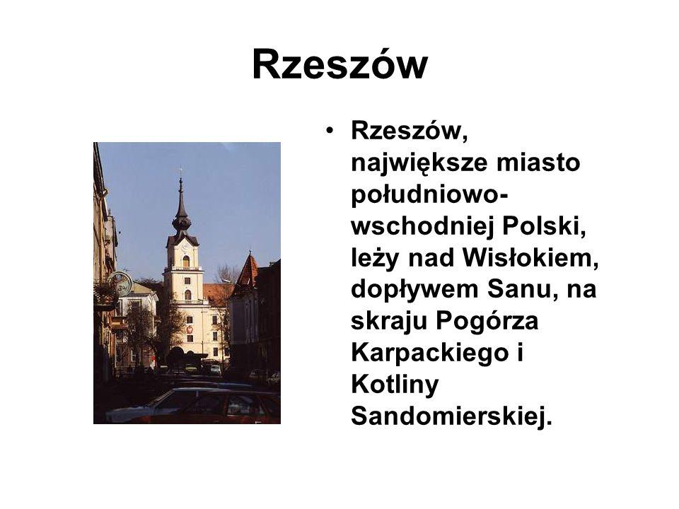Rzeszów Rzeszów, największe miasto południowo- wschodniej Polski, leży nad Wisłokiem, dopływem Sanu, na skraju Pogórza Karpackiego i Kotliny Sandomierskiej.
