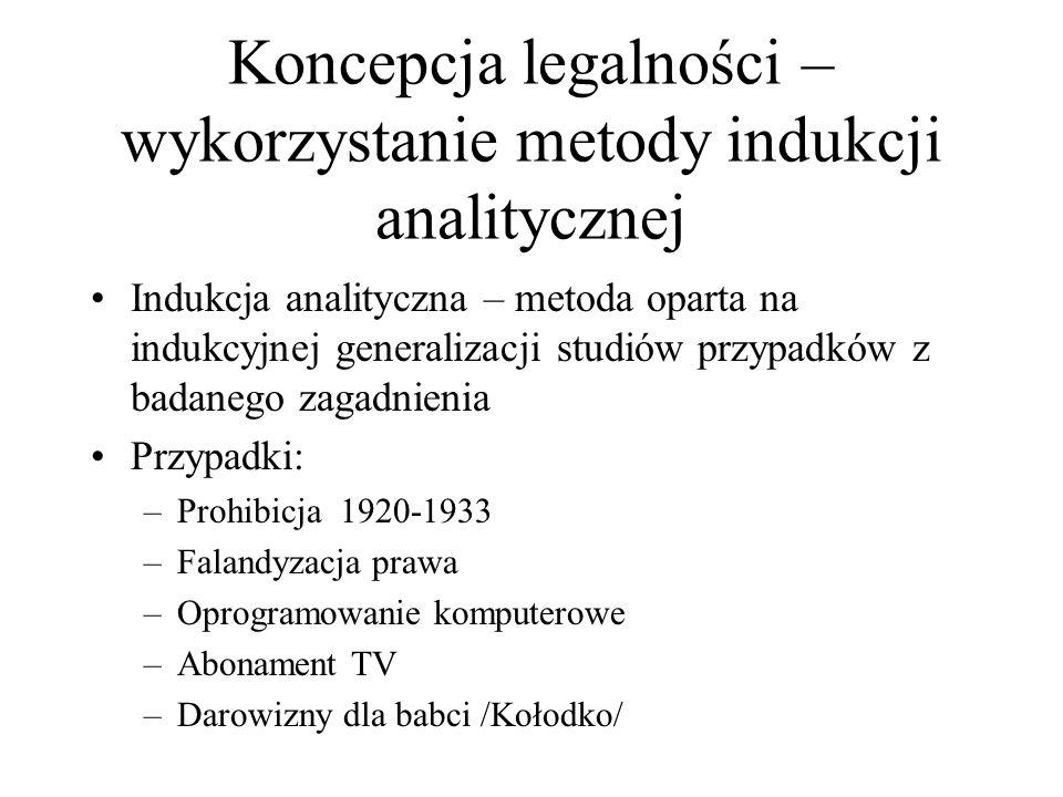 Koncepcja legalności – wykorzystanie metody indukcji analitycznej Indukcja analityczna – metoda oparta na indukcyjnej generalizacji studiów przypadków