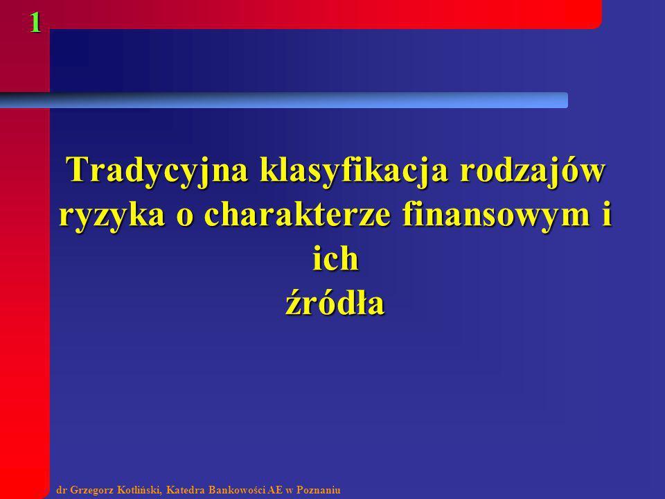 dr Grzegorz Kotliński, Katedra Bankowości AE w Poznaniu 1 Tradycyjna klasyfikacja rodzajów ryzyka o charakterze finansowym i ich źródła