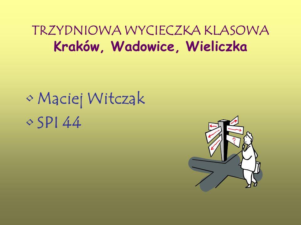 SPIS TREŚCI Kosztorys wycieczki Wykres procentowy kosztów wycieczki Plan wycieczki Mapa przejazdu Informacje o miastach: Kraków Wieliczka Wadowice Źródła