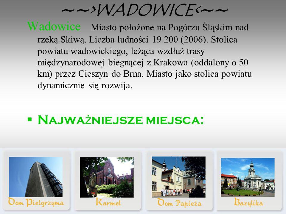 ~~>WADOWICE<~~ Wadowice Miasto położone na Pogórzu Śląskim nad rzeką Skiwą.