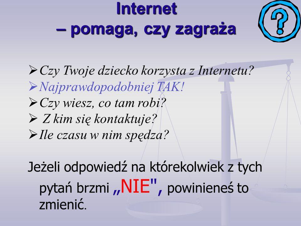 Internet – pomaga, czy zagraża Czy Twoje dziecko korzysta z Internetu.
