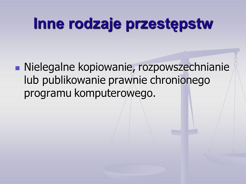 Inne rodzaje przestępstw Nielegalne kopiowanie, rozpowszechnianie lub publikowanie prawnie chronionego programu komputerowego.
