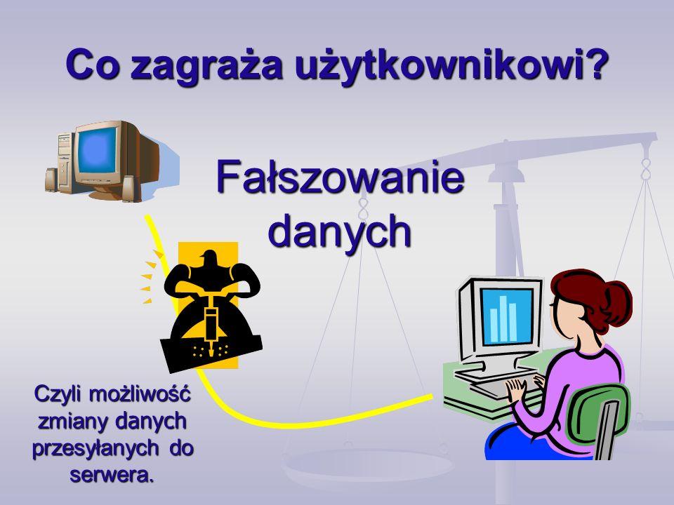 Co zagraża użytkownikowi? Fałszowanie danych Czyli możliwość zmiany danych przesyłanych do serwera.