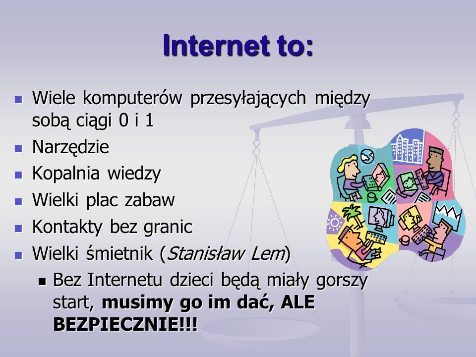Internet to: Wiele komputerów przesyłających między sobą ciągi 0 i 1 Wiele komputerów przesyłających między sobą ciągi 0 i 1 Narzędzie Narzędzie Kopalnia wiedzy Kopalnia wiedzy Wielki plac zabaw Wielki plac zabaw Kontakty bez granic Kontakty bez granic Wielki śmietnik (Stanisław Lem) Wielki śmietnik (Stanisław Lem) Bez Internetu dzieci będą miały gorszy start, musimy go im dać, ALE BEZPIECZNIE!!.