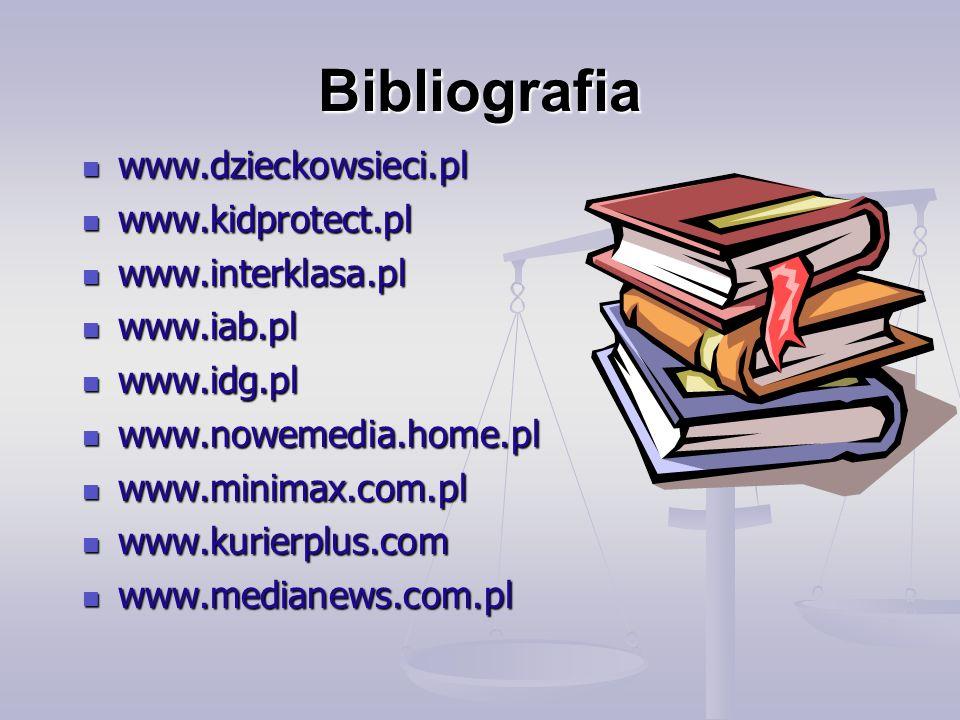 Bibliografia www.dzieckowsieci.pl www.dzieckowsieci.pl www.kidprotect.pl www.kidprotect.pl www.interklasa.pl www.interklasa.pl www.iab.pl www.iab.pl www.idg.pl www.idg.pl www.nowemedia.home.pl www.nowemedia.home.pl www.minimax.com.pl www.minimax.com.pl www.kurierplus.com www.kurierplus.com www.medianews.com.pl www.medianews.com.pl