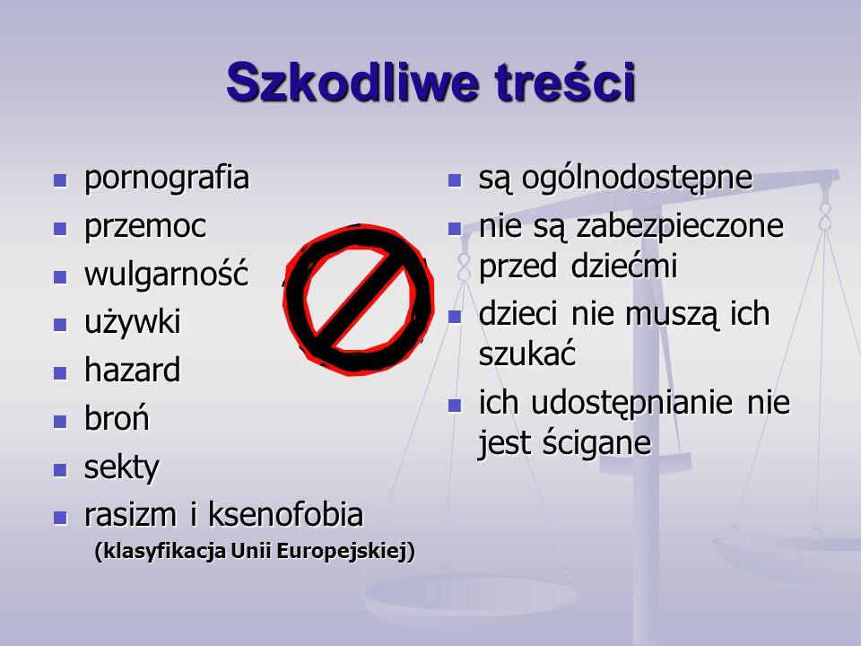 Szkodliwe treści pornografia pornografia przemoc przemoc wulgarność wulgarność używki używki hazard hazard broń broń sekty sekty rasizm i ksenofobia rasizm i ksenofobia (klasyfikacja Unii Europejskiej) są ogólnodostępne nie są zabezpieczone przed dziećmi dzieci nie muszą ich szukać ich udostępnianie nie jest ścigane