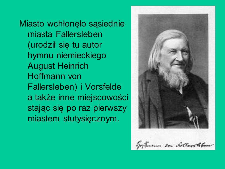 Miasto wchłonęło sąsiednie miasta Fallersleben (urodził się tu autor hymnu niemieckiego August Heinrich Hoffmann von Fallersleben) i Vorsfelde a także