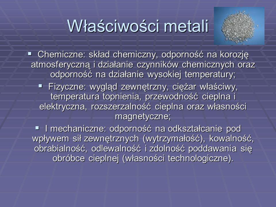 Właściwości metali Chemiczne: skład chemiczny, odporność na korozję atmosferyczną i działanie czynników chemicznych oraz odporność na działanie wysoki