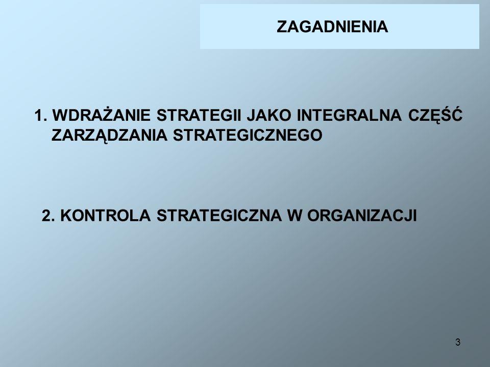3 ZAGADNIENIA 1.WDRAŻANIE STRATEGII JAKO INTEGRALNA CZĘŚĆ ZARZĄDZANIA STRATEGICZNEGO 2.KONTROLA STRATEGICZNA W ORGANIZACJI