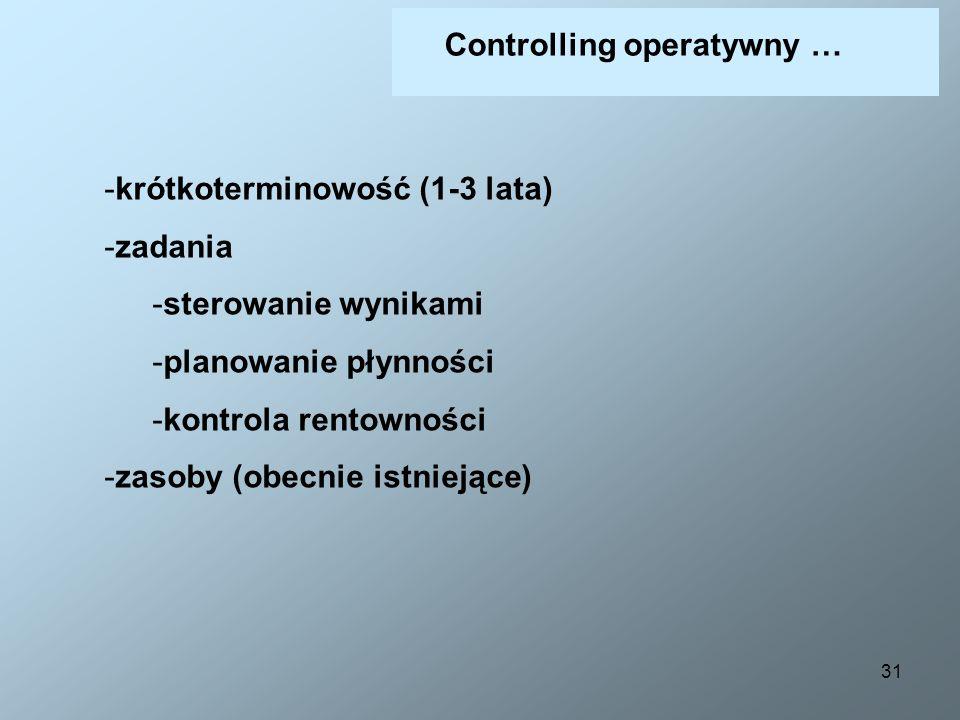 31 Controlling operatywny … -krótkoterminowość (1-3 lata) -zadania -sterowanie wynikami -planowanie płynności -kontrola rentowności -zasoby (obecnie i