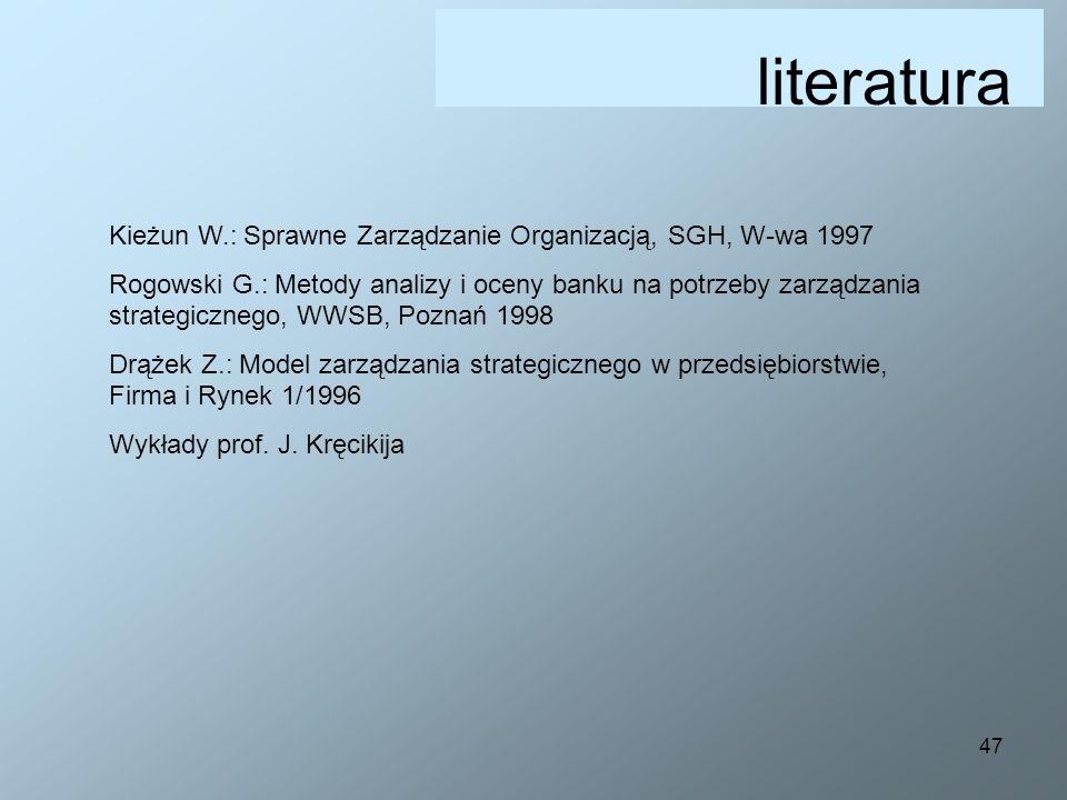 47 literatura Kieżun W.: Sprawne Zarządzanie Organizacją, SGH, W-wa 1997 Rogowski G.: Metody analizy i oceny banku na potrzeby zarządzania strategiczn