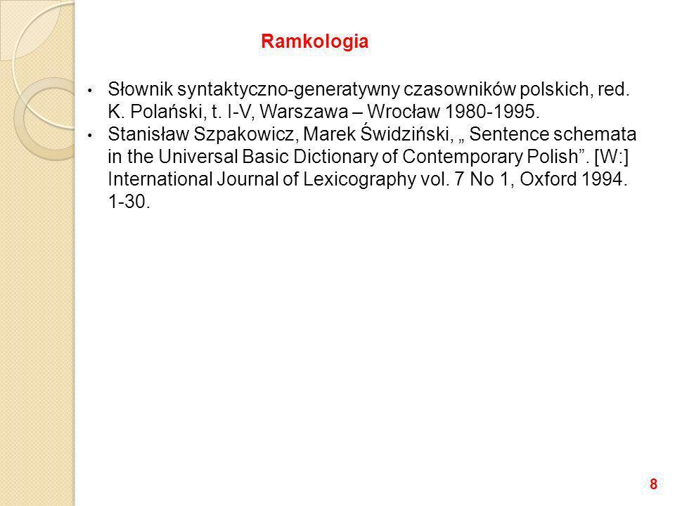 Słownik syntaktyczno-generatywny czasowników polskich, red. K. Polański, t. I-V, Warszawa – Wrocław 1980-1995. Stanisław Szpakowicz, Marek Świdziński,