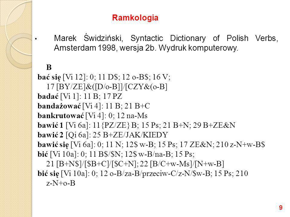 Marcin Woliński, Witold Kieraś, Słownik ramek walencyjnych (dla potrzeb Świgry i Dendrarium) (od 1997) bać sięVinfp(_) bać sięVnp(dop) bać sięVprepnp( o ,bier) bać sięVsentp( czy ) bać sięVsentp(dop, że ) bać sięVsentp(dop, żeby ) bać sięVsentp( o ,bier, czy ) bać sięVsentp( o ,bier, że ) bać sięVsentp( o ,bier, żeby ) bać sięVsentp( że ) bać sięVsentp( żeby ) badaćVnp(bier) badaćVsentp( pz ) bandażowaćVnp(bier)+np(cel) 10 Ramkologia