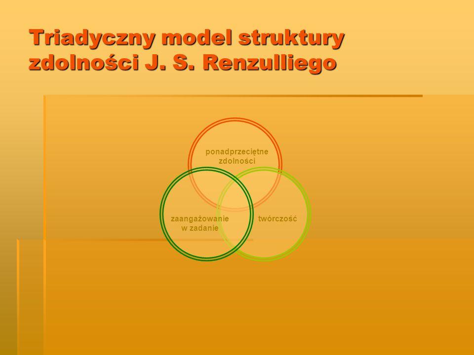 ponadprzeciętne zdolności zaangażowanie w zadanie twórczość Triadyczny model struktury zdolności J. S. Renzulliego