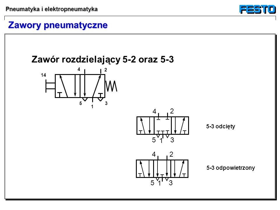Pneumatyka i elektropneumatyka Zawór rozdzielający 5-2 oraz 5-3 2 5 3 14 5-3 odcięty 5-3 odpowietrzony 1 4 4 2 35 1 4 2 35 1 Zawory pneumatyczne