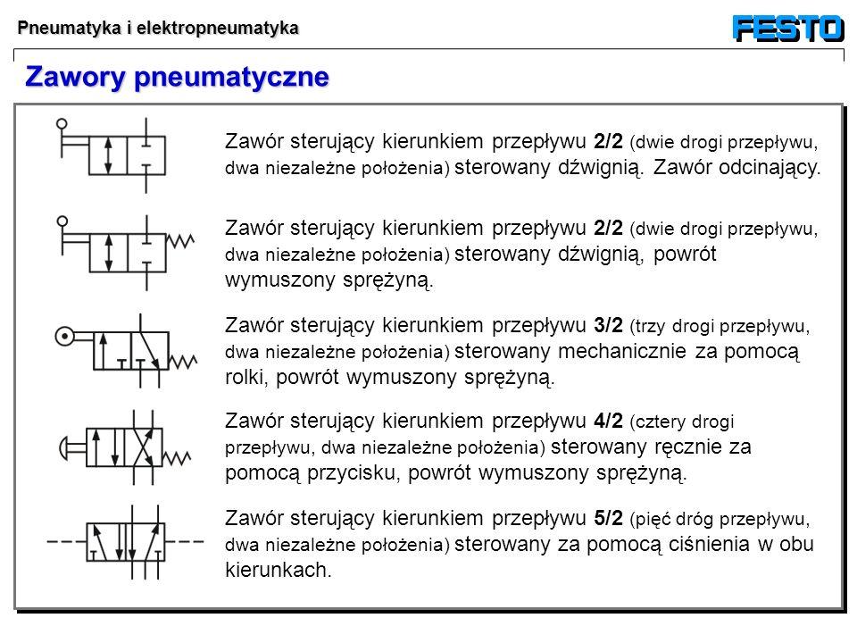 Pneumatyka i elektropneumatyka Zawór sterujący kierunkiem przepływu 3/2 (trzy drogi przepływu, dwa niezależne położenia) sterowany mechanicznie za pom
