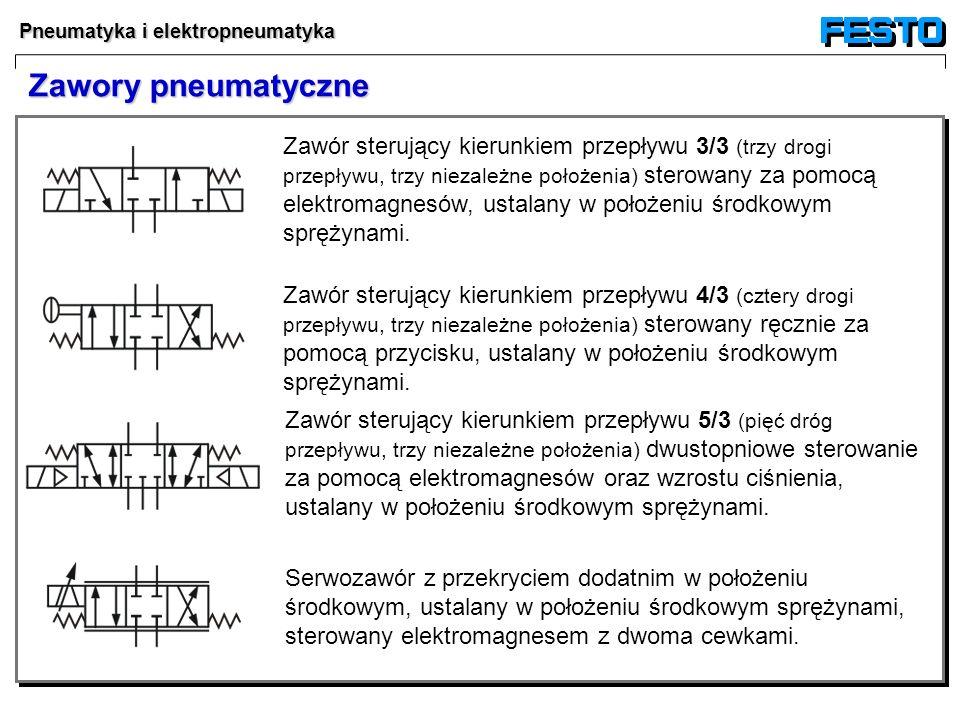 Pneumatyka i elektropneumatyka Zawór sterujący kierunkiem przepływu 5/3 (pięć dróg przepływu, trzy niezależne położenia) dwustopniowe sterowanie za po