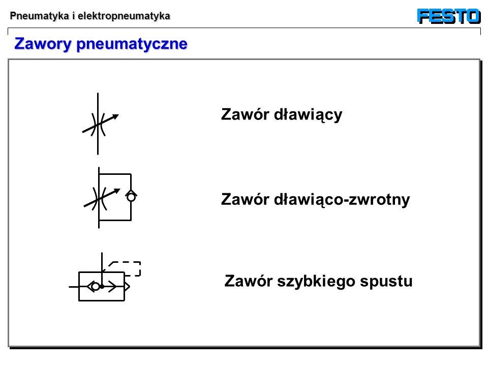 Pneumatyka i elektropneumatyka Zawór dławiący Zawór dławiąco-zwrotny Zawór szybkiego spustu Zawory pneumatyczne