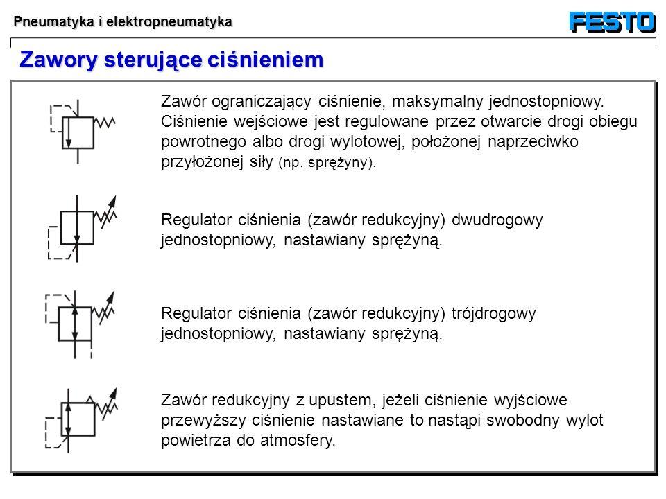 Pneumatyka i elektropneumatyka Regulator ciśnienia (zawór redukcyjny) trójdrogowy jednostopniowy, nastawiany sprężyną. Zawór redukcyjny z upustem, jeż