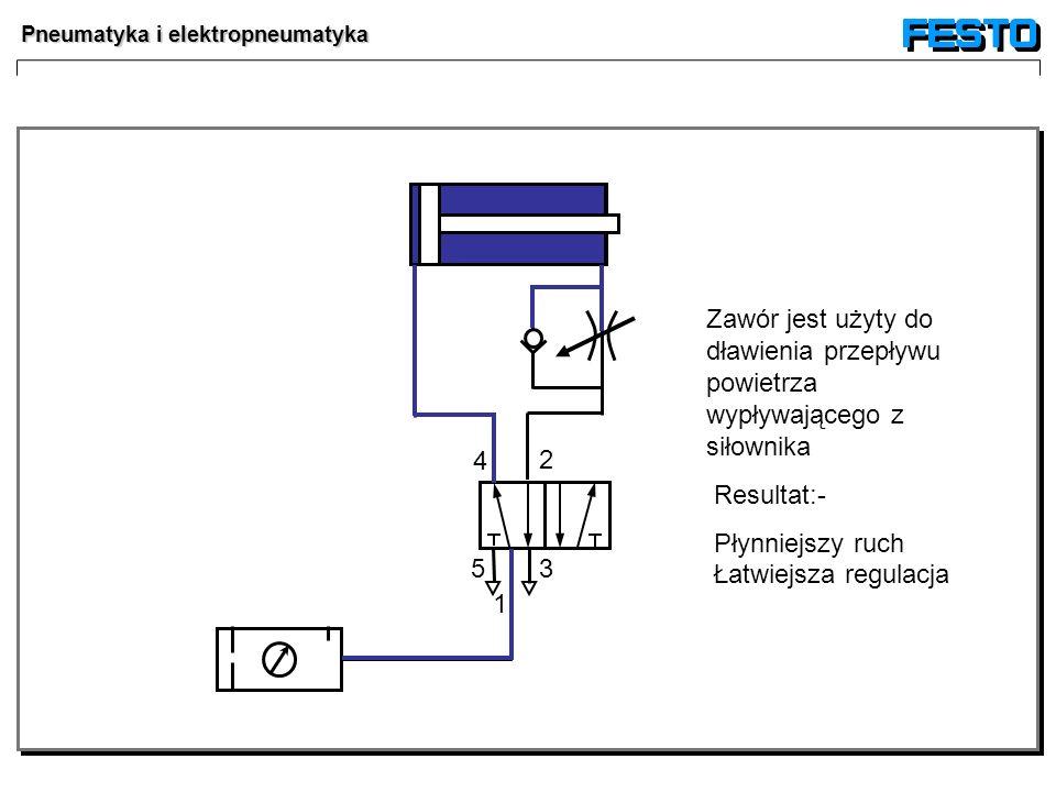 Pneumatyka i elektropneumatyka 35 4 2 1 Zawór jest użyty do dławienia przepływu powietrza wypływającego z siłownika Resultat:- Płynniejszy ruch Łatwie