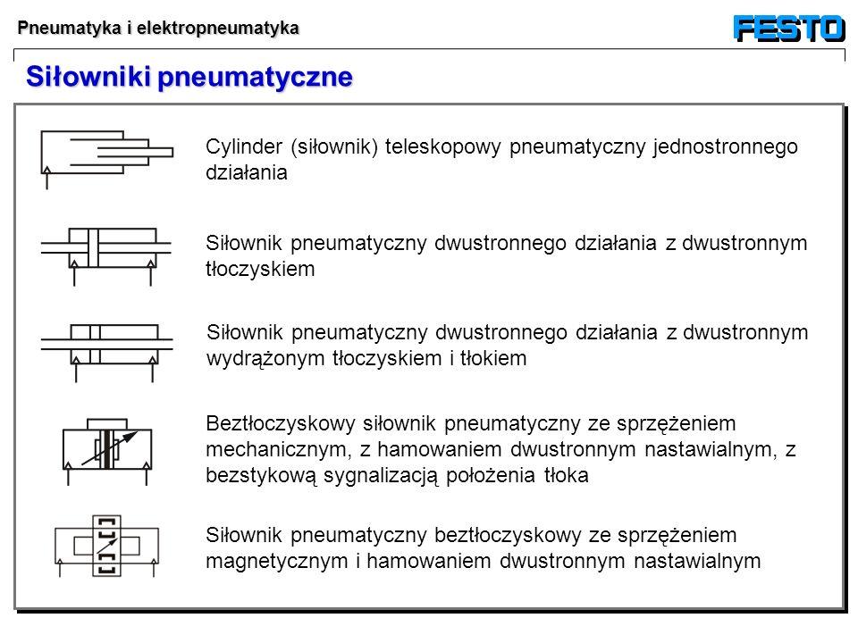 Pneumatyka i elektropneumatyka Siłowniki pneumatyczne Cylinder (siłownik) teleskopowy pneumatyczny jednostronnego działania Siłownik pneumatyczny dwus