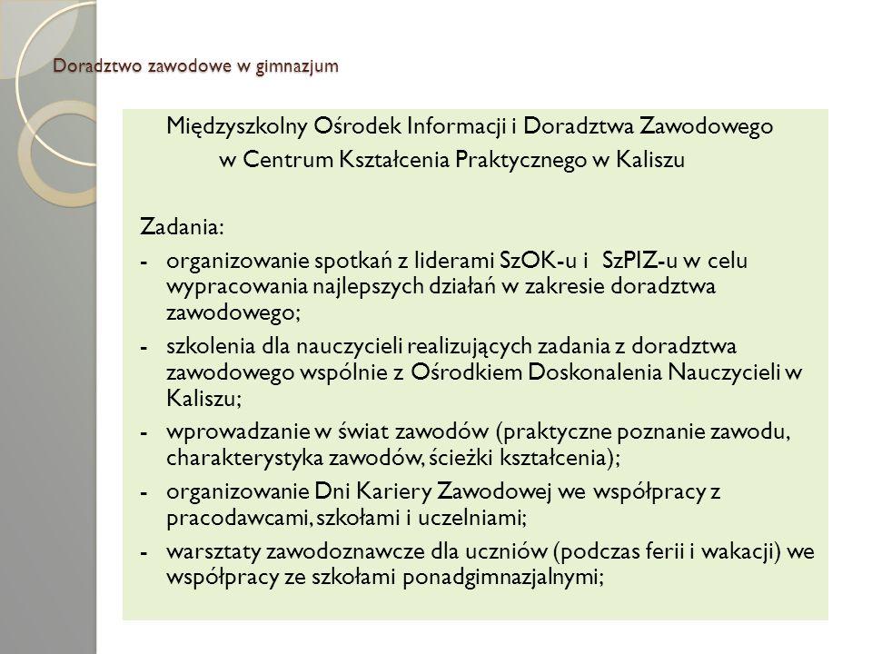 Doradztwo zawodowe w gimnazjum Międzyszkolny Ośrodek Informacji i Doradztwa Zawodowego w Centrum Kształcenia Praktycznego w Kaliszu Zadania: -organizo