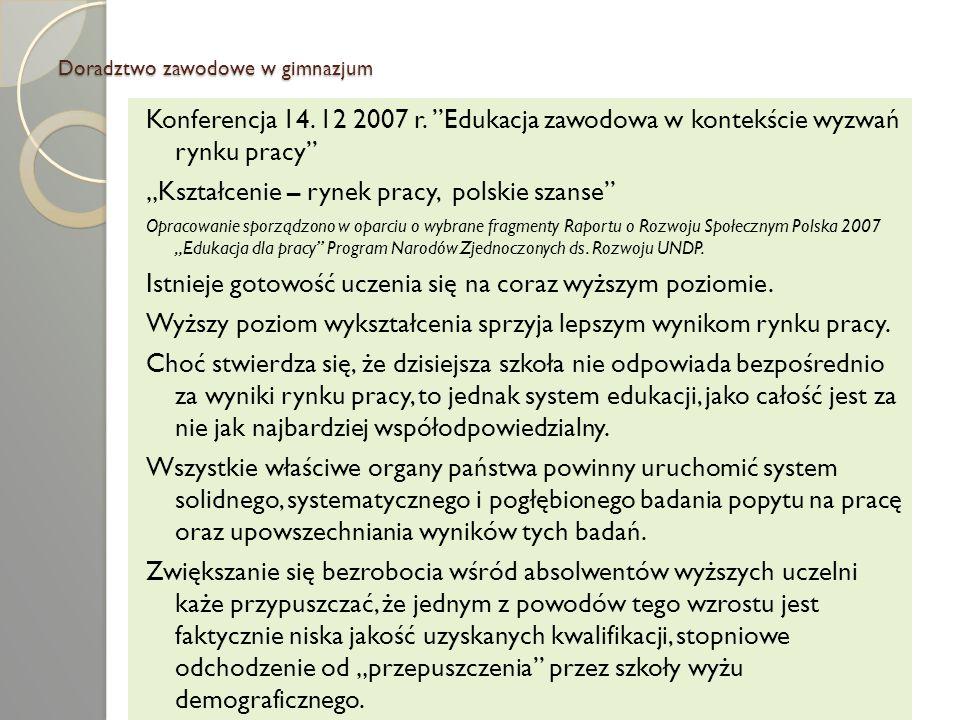 Doradztwo zawodowe w gimnazjum Konferencja 14. 12 2007 r. Edukacja zawodowa w kontekście wyzwań rynku pracy Kształcenie – rynek pracy, polskie szanse