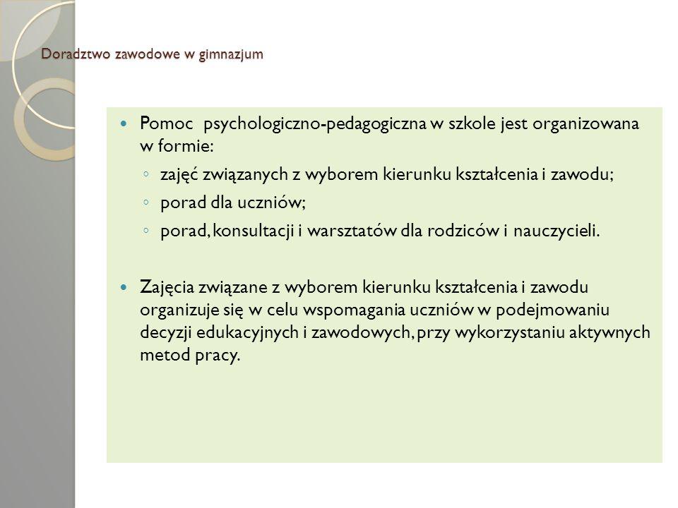 Doradztwo zawodowe w gimnazjum Pomoc psychologiczno-pedagogiczna w szkole jest organizowana w formie: zajęć związanych z wyborem kierunku kształcenia