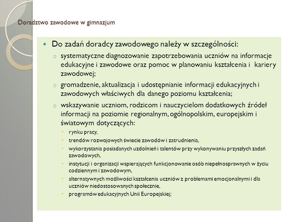 Doradztwo zawodowe w gimnazjum Szkolny Punkt Informacji Zawodowej.