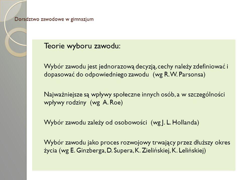 Doradztwo zawodowe w gimnazjum Traktując wybór zawodu jako proces rozwojowy D.