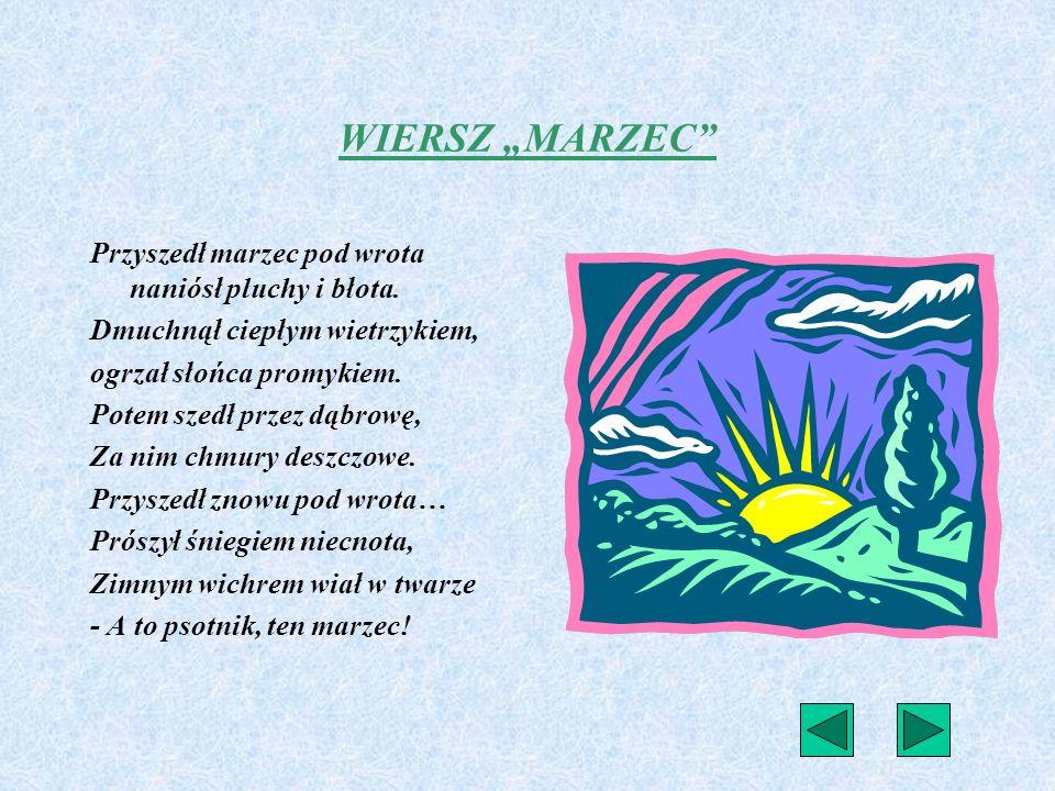 Konspekt lekcji języka polskiego Klasa – II szkoły podstawowej Czas – 90 minut TEMAT: Swobodne wypowiedzi uczniów na temat zmienności pogody marcowej