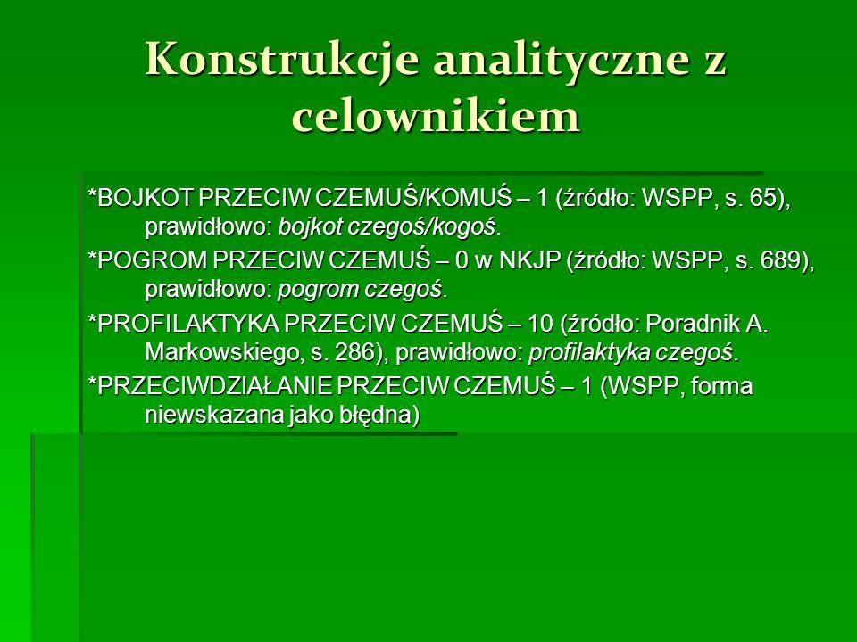 Konstrukcje analityczne z celownikiem *BOJKOT PRZECIW CZEMUŚ/KOMUŚ – 1 (źródło: WSPP, s.