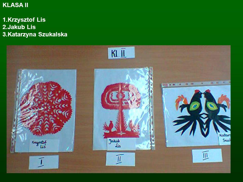 KLASA II 1.Krzysztof Lis 2.Jakub Lis 3.Katarzyna Szukalska