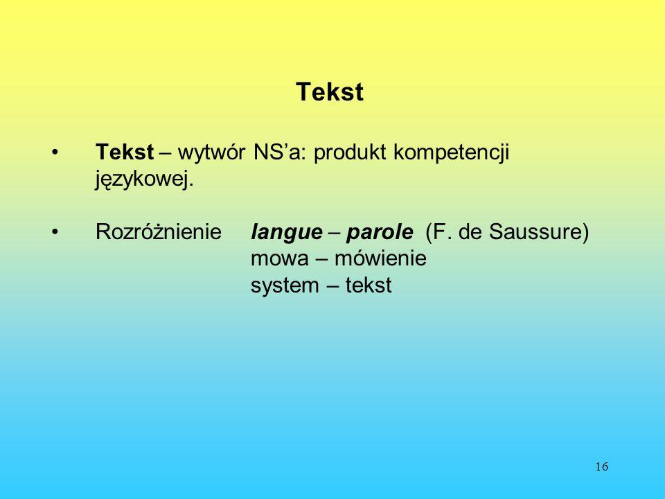 16 Tekst Tekst – wytwór NSa: produkt kompetencji językowej. Rozróżnienie langue – parole (F. de Saussure) mowa – mówienie system – tekst
