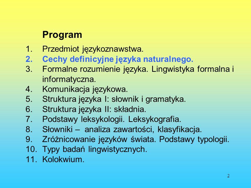 2 Program 1.Przedmiot językoznawstwa. 2.Cechy definicyjne języka naturalnego. 3.Formalne rozumienie języka. Lingwistyka formalna i informatyczna. 4.Ko