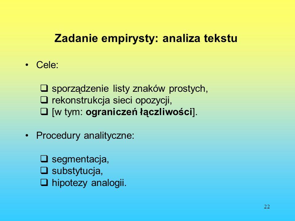 22 Zadanie empirysty: analiza tekstu Cele: sporządzenie listy znaków prostych, rekonstrukcja sieci opozycji, [w tym: ograniczeń łączliwości]. Procedur