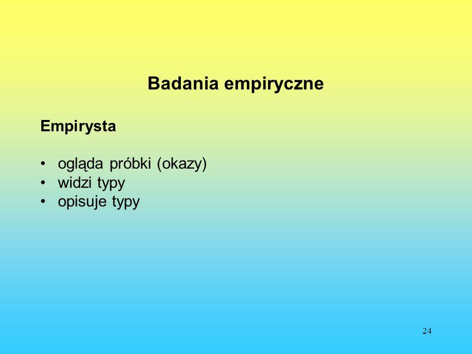 24 Badania empiryczne Empirysta ogląda próbki (okazy) widzi typy opisuje typy