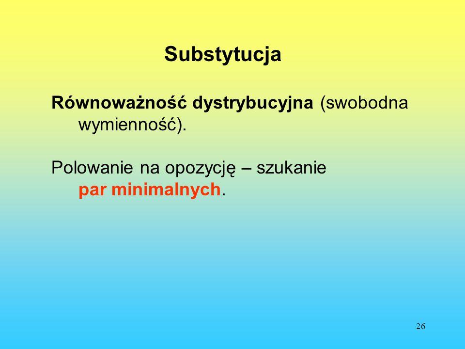 26 Substytucja Równoważność dystrybucyjna (swobodna wymienność). Polowanie na opozycję – szukanie par minimalnych.